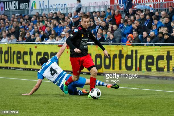 Dirk Marcellis of PEC Zwolle Mike van Duinen of Excelsiorduring the Dutch Eredivisie match between PEC Zwolle and bv Excelsior Rotterdam at the...