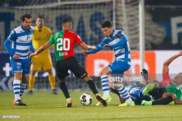Dirk Marcellis of PEC Zwolle Mohamed Rayhi of NEC Nijmegen Danny Holla of PEC Zwolleduring the Dutch Eredivisie match between PEC Zwolle and NEC...