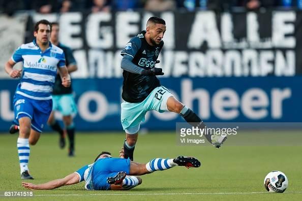 Dirk Marcellis of PEC Zwolle Mustafa Saymak of PEC Zwolle Hakim Ziyech of Ajaxduring the Dutch Eredivisie match between PEC Zwolle and Ajax Amsterdam...