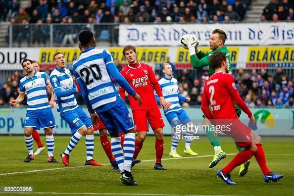 Dirk Marcellis of PEC Zwolle Nicolai BrockMadsen of PEC Zwolle Kingsley Ehizibue of PEC Zwolle Stefan Thesker of FC Twente goalkeeper Nick Marsman of...