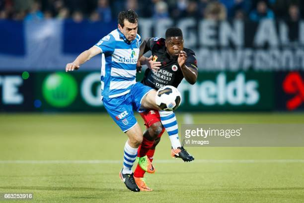 Dirk Marcellis of PEC Zwolle Nigel Hasselbaink of Excelsiorduring the Dutch Eredivisie match between PEC Zwolle and bv Excelsior Rotterdam at the...