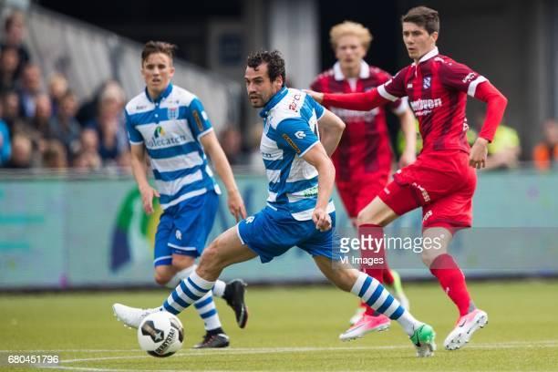 Dirk Marcellis of PEC Zwolle Pelle van Amerfoort of sc Heerenveenduring the Dutch Eredivisie match between PEC Zwolle and sc Heerenveen at the...