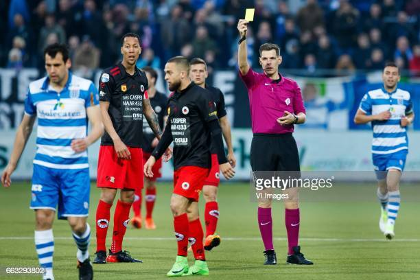 Dirk Marcellis of PEC Zwolle referee Jochem Kamphuisduring the Dutch Eredivisie match between PEC Zwolle and bv Excelsior Rotterdam at the MAC3Park...