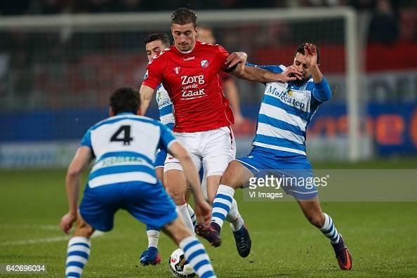 Dirk Marcellis of PEC Zwolle Robin van der Meer of FC Utrecht Youness Mokhtar of PEC Zwolleduring the Dutch Eredivisie match between FC Utrecht and...