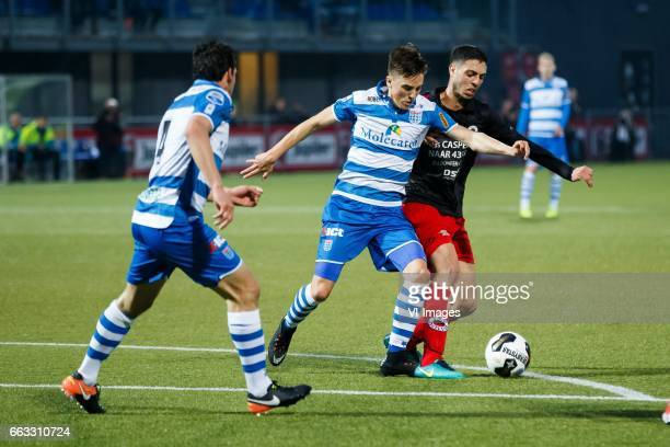 Dirk Marcellis of PEC Zwolle Ryan Thomas of PEC Zwolle Hachim Faik of Excelsiorduring the Dutch Eredivisie match between PEC Zwolle and bv Excelsior...