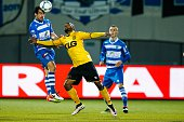 Dirk Marcellis of PEC Zwolle Rydell Poepon of Roda JC Thomas Lam of PEC Zwolle during the Dutch Eredivisie match between PEC Zwolle and Roda JC...