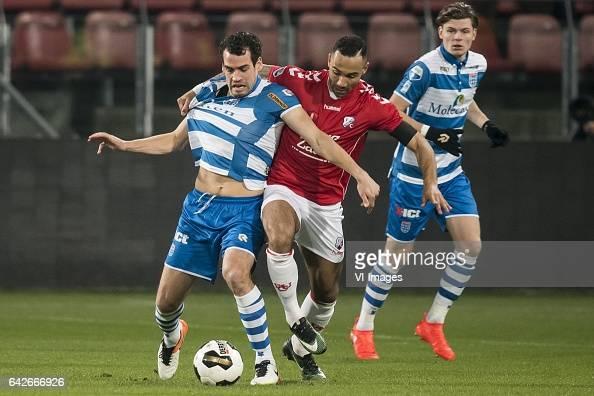 Dirk Marcellis of PEC Zwolle Sean Klaiber of FC Utrechtduring the Dutch Eredivisie match between FC Utrecht and PEC Zwolle at the Galgenwaard Stadium...