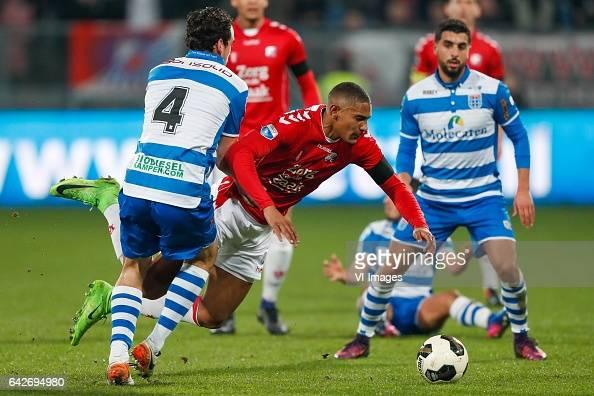Dirk Marcellis of PEC Zwolle Sebastien Haller of FC Utrecht Youness Mokhtar of PEC Zwolleduring the Dutch Eredivisie match between FC Utrecht and PEC...