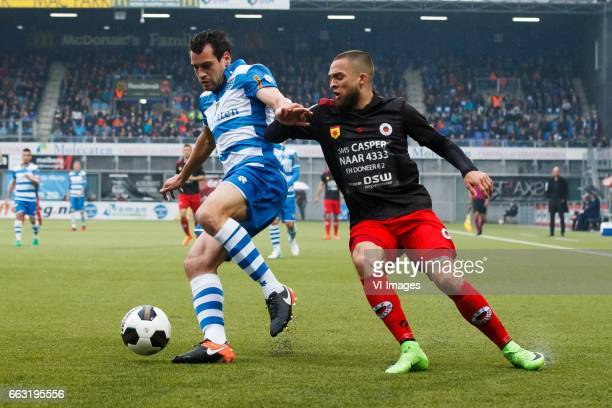Dirk Marcellis of PEC Zwolle Stanley Elbers of Excelsiorduring the Dutch Eredivisie match between PEC Zwolle and bv Excelsior Rotterdam at the...