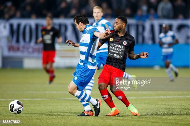 Dirk Marcellis of PEC Zwolle Terell Ondaan of Excelsiorduring the Dutch Eredivisie match between PEC Zwolle and bv Excelsior Rotterdam at the...