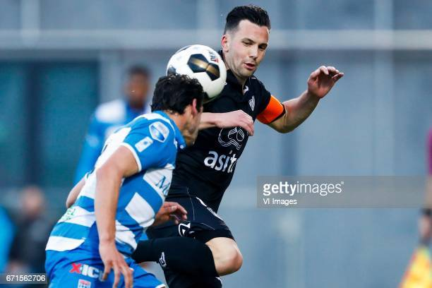 Dirk Marcellis of PEC Zwolle Thomas Bruns of Heracles Almeloduring the Dutch Eredivisie match between PEC Zwolle and Heracles Almelo at the MAC3Park...