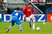 Dirk Marcellis of PEC Zwolle Vincent Janssen of AZ Alkmaar during the Dutch Eredivisie match between AZ and PEC Zwolle at the AFAS stadium on april...