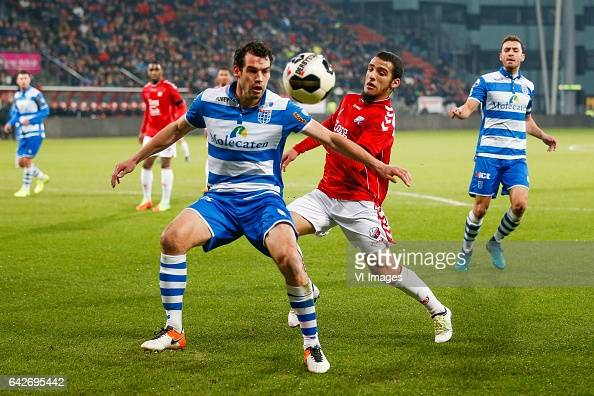 Dirk Marcellis of PEC Zwolle Yassin Ayoub of FC Utrechtduring the Dutch Eredivisie match between FC Utrecht and PEC Zwolle at the Galgenwaard Stadium...