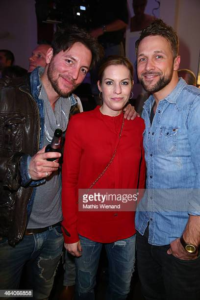 Dirk Moritz Jule Golsdorf and Florian Ambrosius attend the Tom Beck Record Release Party at 'die maske' on February 21 2015 in Cologne Germany