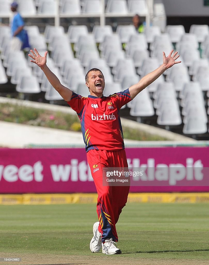 <a gi-track='captionPersonalityLinkClicked' href=/galleries/search?phrase=Dirk+Nannes&family=editorial&specificpeople=718285 ng-click='$event.stopPropagation()'>Dirk Nannes</a> of the Highveld Lions during the Karbonn Smart CLT20 match between bizbub Highveld Lions (South Africa) and Sydney Sixers (Australia) at Sahara Park Newlands on October 18, 2012 in Cape Town, South Africa.