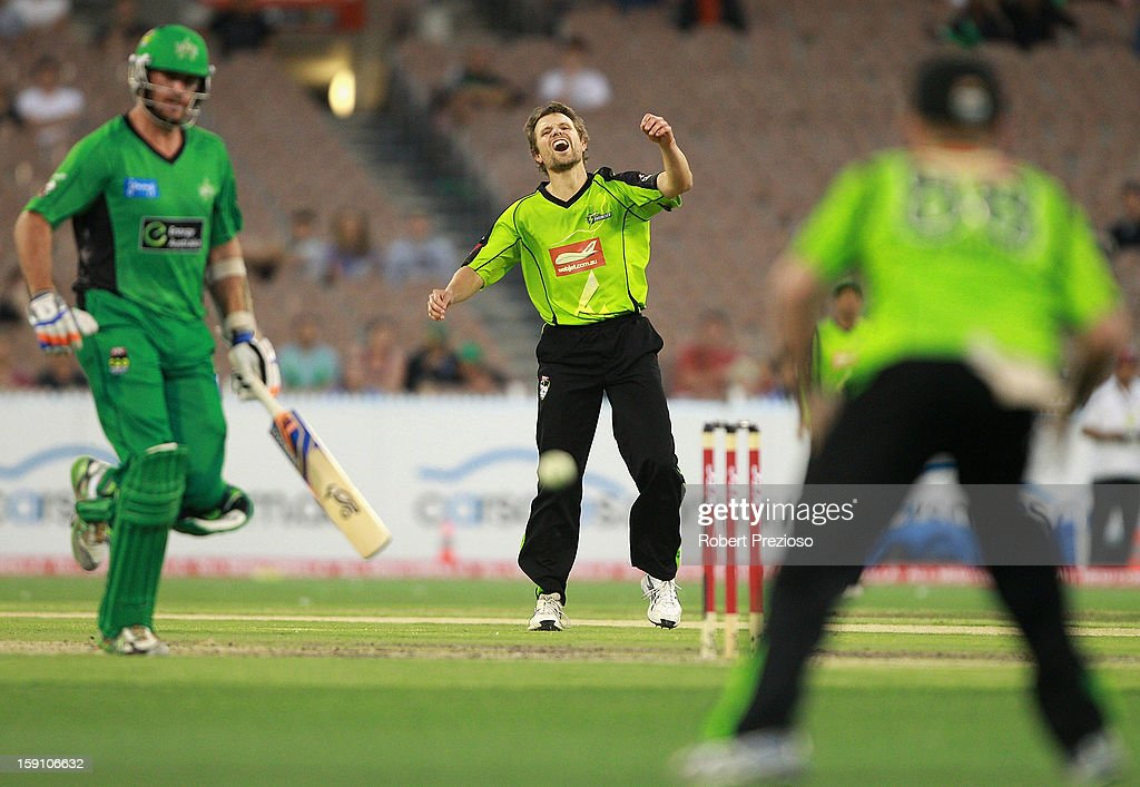 Dirk Nannes of the Thunder reacts after missing a chance to runout John Hastings of the Stars during the Big Bash League match between the Melbourne Stars and the Sydney Thunder at Melbourne Cricket Ground on January 8, 2013 in Melbourne, Australia.