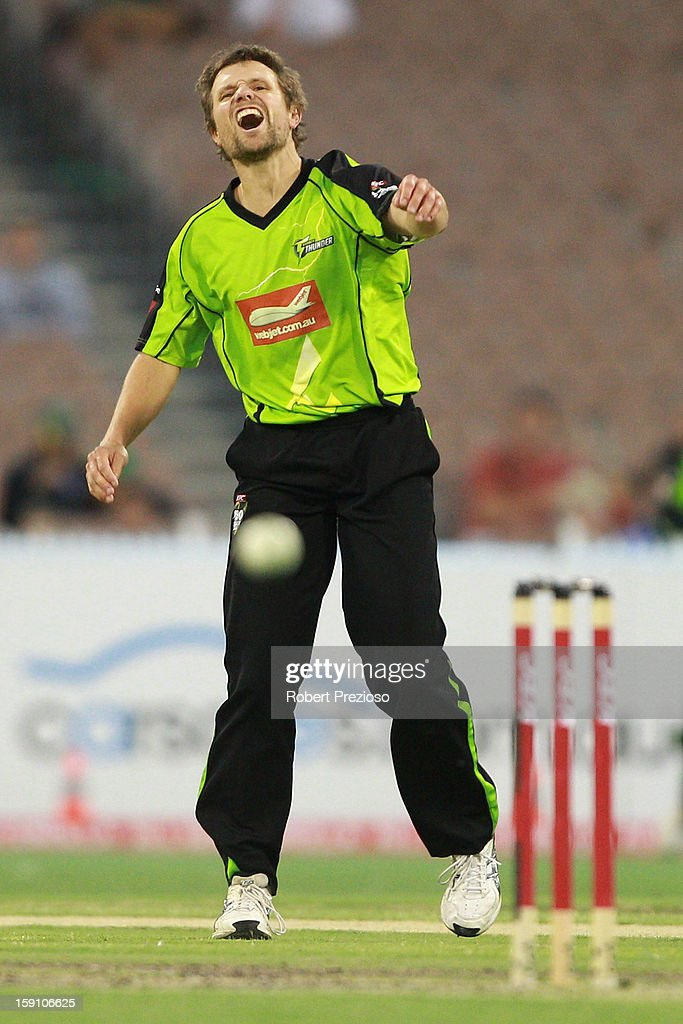 Dirk Nannes of the Thunder reacts after missing a runout chance during the Big Bash League match between the Melbourne Stars and the Sydney Thunder at Melbourne Cricket Ground on January 8, 2013 in Melbourne, Australia.