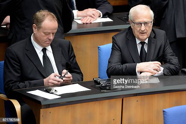 Dirk Niebel and Rainer Bruederle attend the state memorial ceremony to honor HansDietrich Genscher at World Congress Center on April 17 2016 in Bonn...