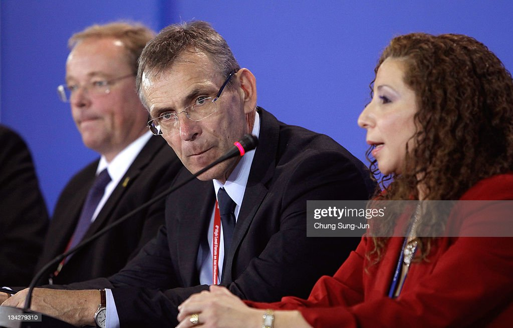 Dirk Niebel, Federal Minister for Economic Cooperation and Development of Germany, <a gi-track='captionPersonalityLinkClicked' href=/galleries/search?phrase=Andris+Piebalgs&family=editorial&specificpeople=536886 ng-click='$event.stopPropagation()'>Andris Piebalgs</a> EU Commissioner and Lidia Fromm Cea, Director General for Development Cooparation Government of Honduras attend at the press conference during the 4th High Level Forum on Aid Effectiveness on November 30, 2011 in Busan, South Korea. The forum will be attended by over 2,500 members of the development assistance community with Secretary Clinton's visit to the forum marking the first time a U.S. Secretary of state has attended the discussions. This year's gathering will focus on fighting extreme poverty and improving gender equality.