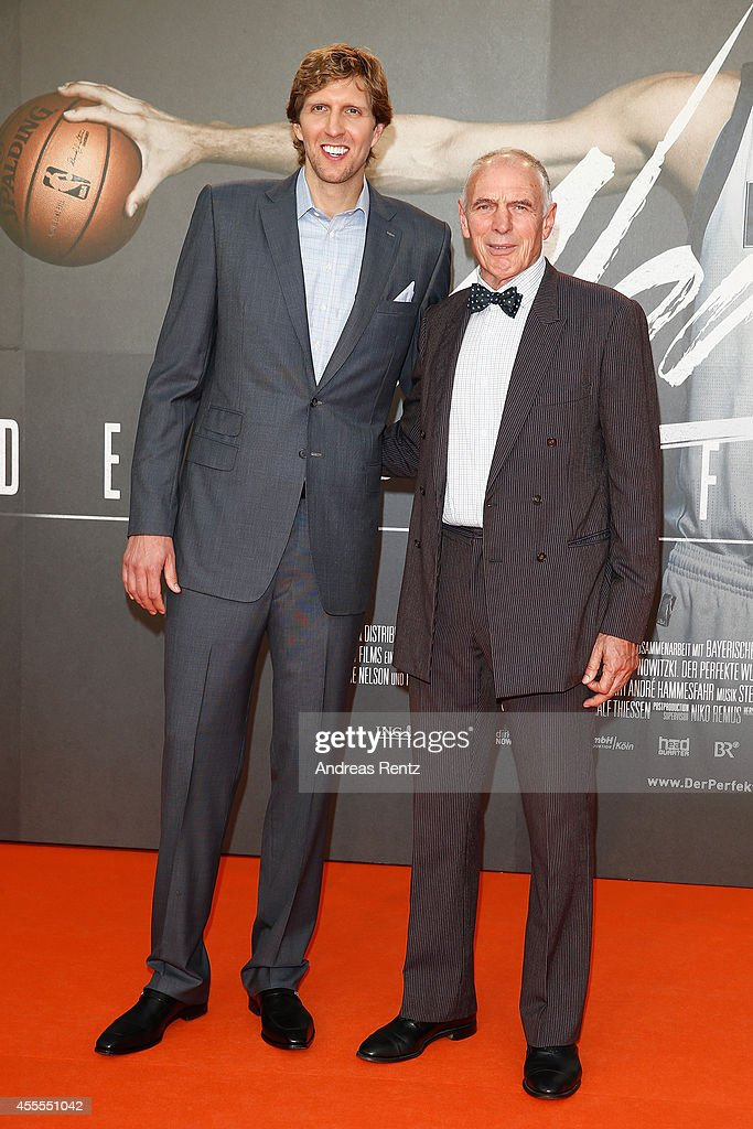 Dirk Nowitzki and Holger Geschwindner attends the premiere of the film 'Nowitzki. Der Perfekte Wurf' at Cinedom on September 16, 2014 in Cologne, Germany.