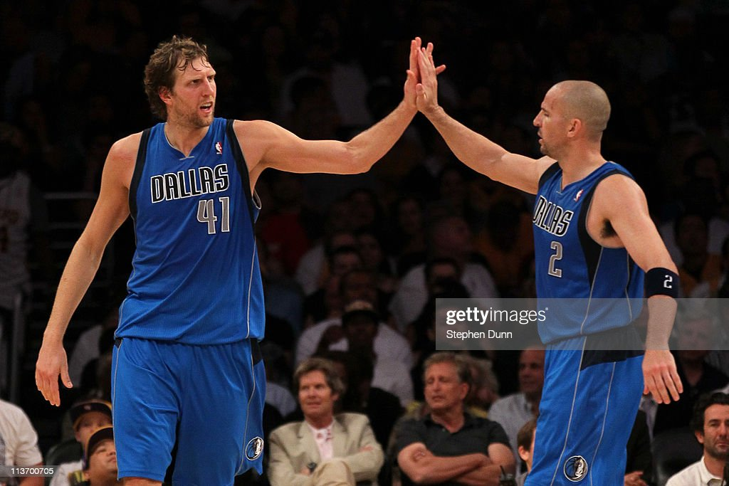 <a gi-track='captionPersonalityLinkClicked' href=/galleries/search?phrase=Dirk+Nowitzki&family=editorial&specificpeople=201490 ng-click='$event.stopPropagation()'>Dirk Nowitzki</a> #41 and <a gi-track='captionPersonalityLinkClicked' href=/galleries/search?phrase=Jason+Kidd&family=editorial&specificpeople=201560 ng-click='$event.stopPropagation()'>Jason Kidd</a> #2 of the Dallas Mavericks celebrate late in the fourth quarter while taking on the Los Angeles Lakers in Game Two of the Western Conference Semifinals in the 2011 NBA Playoffs at Staples Center on May 4, 2011 in Los Angeles, California.