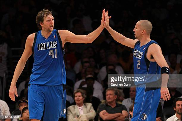 Dirk Nowitzki and Jason Kidd of the Dallas Mavericks celebrate late in the fourth quarter while taking on the Los Angeles Lakers in Game Two of the...