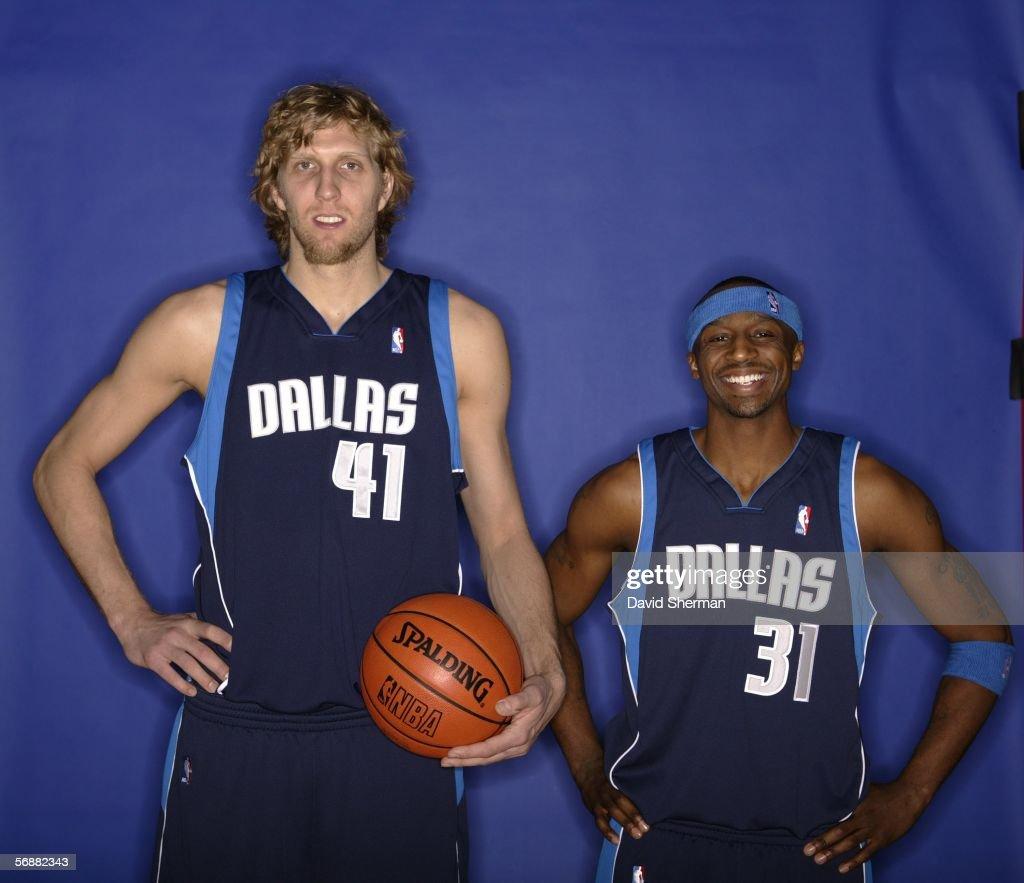 Dirk Nowitzki and Jason Terry of the Dallas Mavericks pose for a Footlocker ThreePoint Shootout Portrait at the 2006 NBA AllStar Weekend February 18...