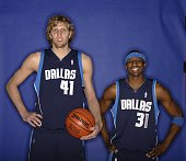 Dirk Nowitzki and Jason Terry of the Dallas Mavericks pose for a Footlocker ThreePoint Shootout Portrait at the 2006 NBA AllStar Weekend February 18...