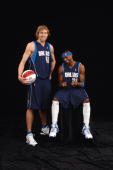 Dirk Nowitzki and Jason Terry of the Dallas Mavericks pose for a portrait prior to the 2006 Footlocker ThreePoint Shootout on February 18 2006 at the...