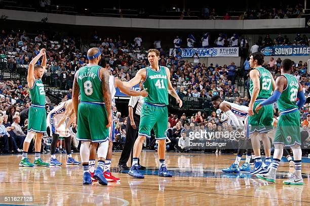 Dirk Nowitzki and the Dallas Mavericks get set to take on the Philadelphia 76ers on February 21 2016 at the American Airlines Center in Dallas Texas...
