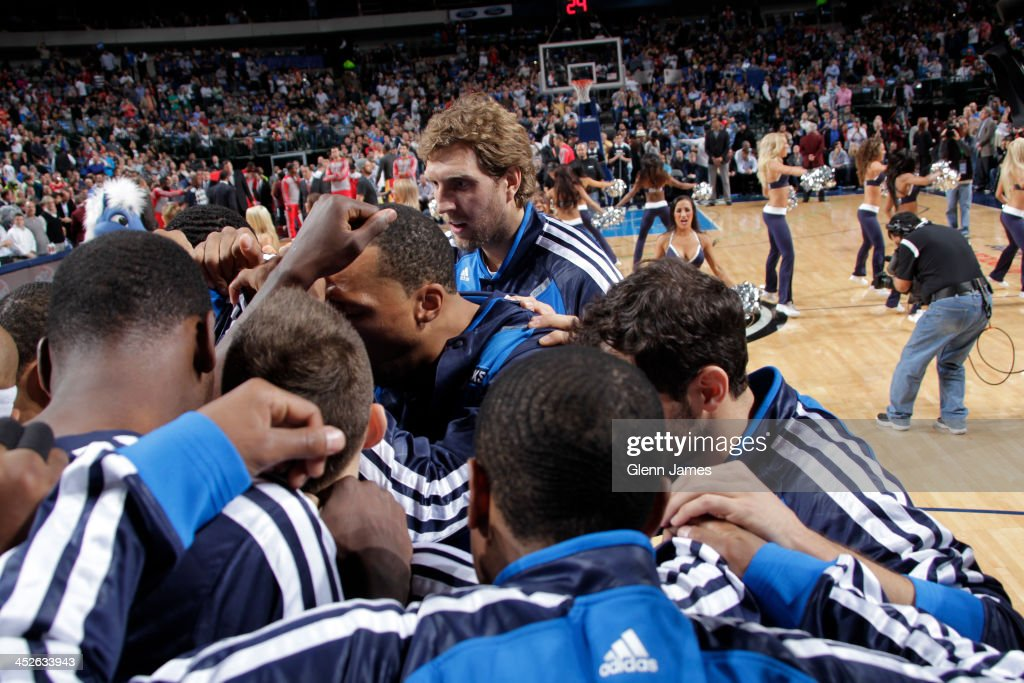 <a gi-track='captionPersonalityLinkClicked' href=/galleries/search?phrase=Dirk+Nowitzki&family=editorial&specificpeople=201490 ng-click='$event.stopPropagation()'>Dirk Nowitzki</a> #41 and the Dallas Mavericks huddle up before the game against the Houston Rockets on November 20, 2013 at the American Airlines Center in Dallas, Texas.
