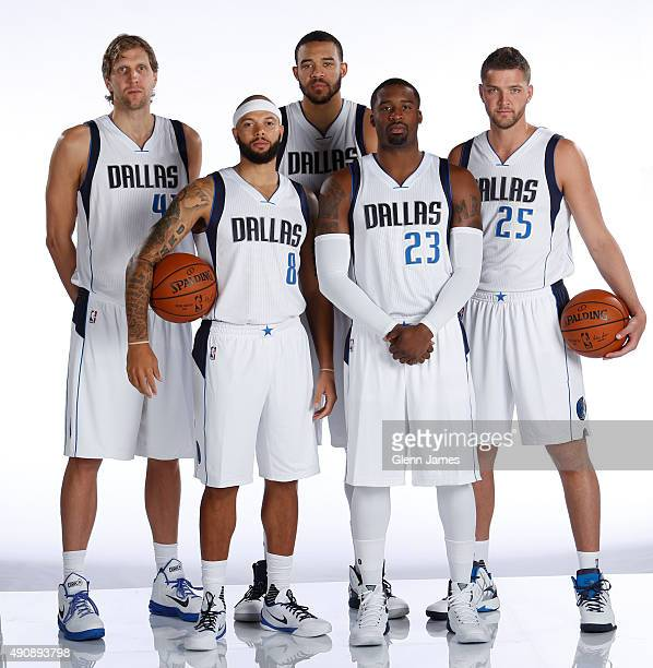 Dirk Nowitzki Deron Williams JaVale McGee Wesley Matthews and Chandler Parsons of the Dallas Mavericks pose for a photo during media day on September...