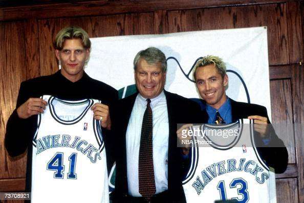 Dirk Nowitzki head coach Don Nelson and Steve Nash pose for a photo as they are introduced to the Dallas Mavericks during a press conference on June...