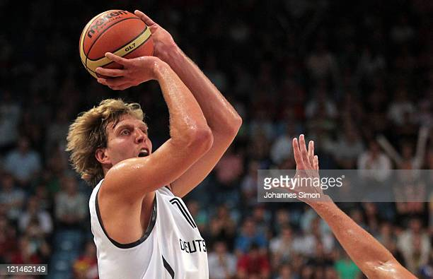 Dirk Nowitzki of Germany jumps during the BEKO Supercup 2011 International basketball game between Germany and Belgium at the Stechert Arena on...