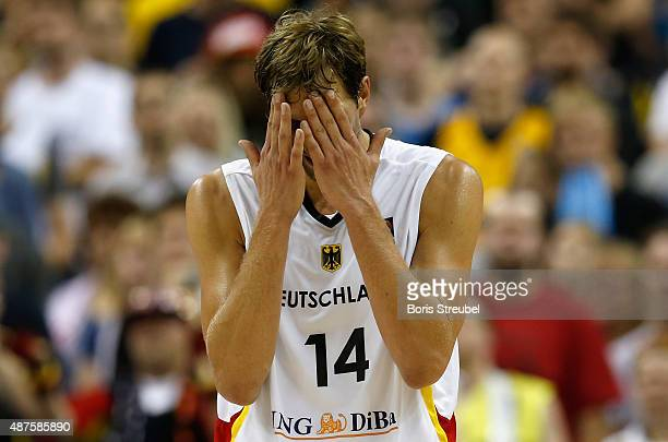 Dirk Nowitzki of Germany looks dejected after losing the FIBA EuroBasket 2015 Group B basketball match between Germany and Spain at Arena of...