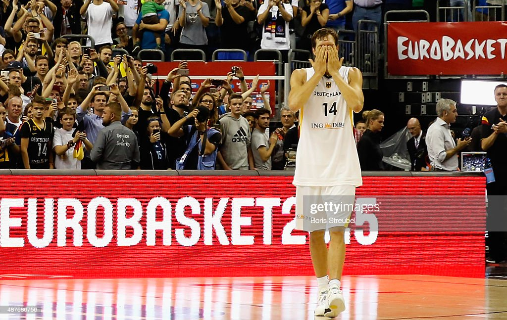 Dirk Nowitzki of Germany waves to his fans after Germany loses the FIBA EuroBasket 2015 Group B basketball match between Germany and Spain at Arena of EuroBasket 2015 on September 10, 2015 in Berlin, Germany.