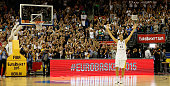 Dirk Nowitzki of Germany waves to his fans after Germany loses the FIBA EuroBasket 2015 Group B basketball match between Germany and Spain at Arena...