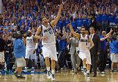 Dirk Nowitzki of the Dallas Mavericks and Jose Calderon of the Dallas Mavericks celebrate after the Dallas Mavericks beat the San Antonio Spurs...