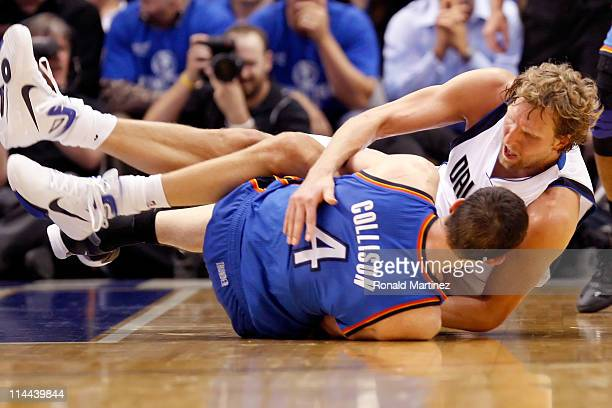 Dirk Nowitzki of the Dallas Mavericks and Nick Collison of the Oklahoma City Thunder battle for a ball on the floor in the fourth quarter in Game Two...