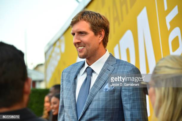 Dirk Nowitzki of the Dallas Mavericks arrives on the red carpet during the 2017 NBA Awards Show on June 26 2017 at Basketball City in New York City...