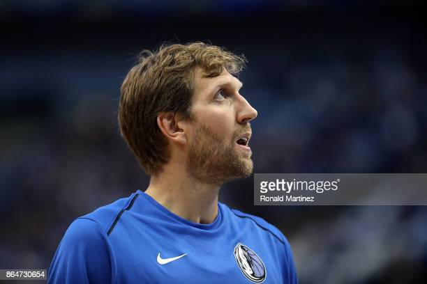 Dirk Nowitzki of the Dallas Mavericks at American Airlines Center on October 18 2017 in Dallas Texas NOTE TO USER User expressly acknowledges and...