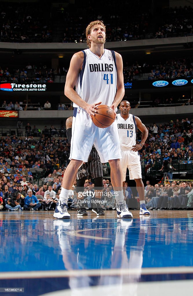 <a gi-track='captionPersonalityLinkClicked' href=/galleries/search?phrase=Dirk+Nowitzki&family=editorial&specificpeople=201490 ng-click='$event.stopPropagation()'>Dirk Nowitzki</a> #41 of the Dallas Mavericks attempts a foul shot against the Orlando Magic on February 20, 2013 at the American Airlines Center in Dallas, Texas.
