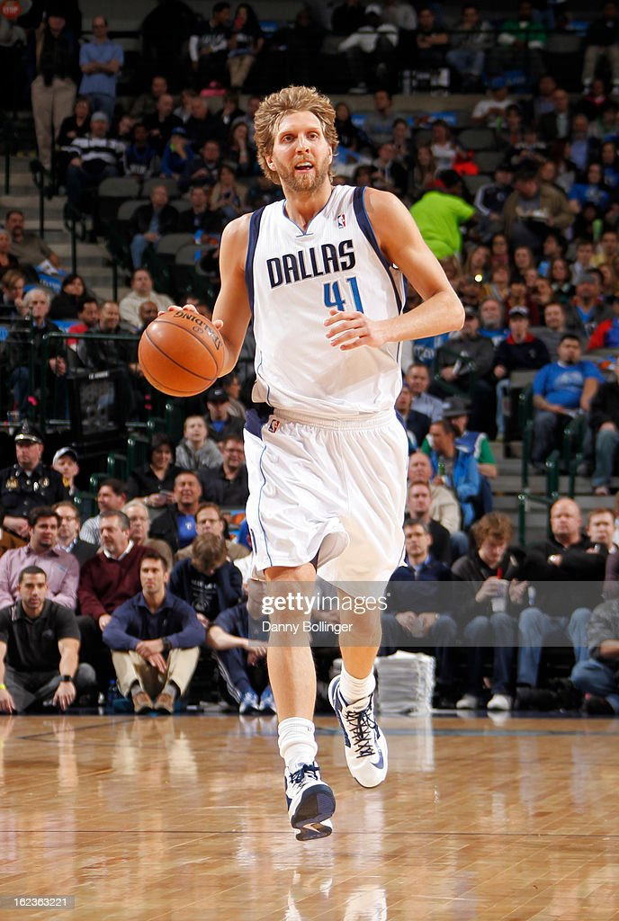 Dirk Nowitzki #41 of the Dallas Mavericks brings the ball up court against the Orlando Magic on February 20, 2013 at the American Airlines Center in Dallas, Texas.