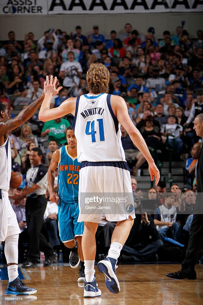 Dirk Nowitzki #41 of the Dallas Mavericks celebrates a play against the New Orleans Hornets on April 17, 2013 at the American Airlines Center in Dallas, Texas.