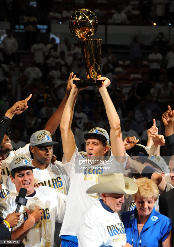 Dirk Nowitzki of the Dallas Mavericks celebrates after winning the NBA Championship by defeating the Miami Heat during Game Six of the 2011 NBA Finals on June 12, 2011 at the American Airlines Arena in Miami, Florida.