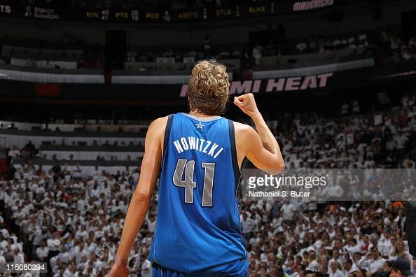 Dirk Nowitzki of the Dallas Mavericks celebrates against the Miami Heat during Game Two of the 2011 NBA Finals on June 02 2011 at the American...