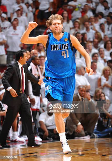 Dirk Nowitzki of the Dallas Mavericks celebrates during a game against the Miami Heat during Game Six of the 2011 NBA Finals on June 12 2011 at the...