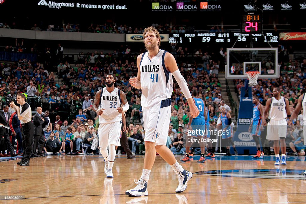 Dirk Nowitzki #41 of the Dallas Mavericks celebrates during a game against the Oklahoma City Thunder on March 17, 2013 at the American Airlines Center in Dallas, Texas.