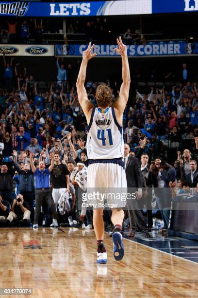 Dirk Nowitzki of the Dallas Mavericks celebrates hitting a late game shot against the Portland Trail Blazers on February 7 2017 at the American...