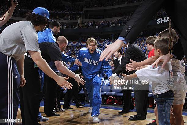 Dirk Nowitzki of the Dallas Mavericks comes out during player introductions prior to Game Four of the Western Conference Semifinals against the Los...
